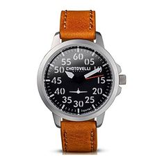 Chotovelli Aviator Mens Watch Analog display Vintage Brown Leather Strap 3301 -- See this great product. Luxury Watches For Men, Vintage Leather, Stainless Steel Case, Quartz Watch, Display, Aviation, Brown Leather, Men Gifts, Clocks