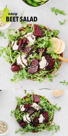 This easy beet salad recipe is made with fresh arugula, with goat cheese, and a delicious balsamic glaze. It's easy and bursting with flavor. Pickled Beet Salad, Beet And Goat Cheese, Arugula Salad Recipes, Beet Recipes, Healthy Salad Recipes, Whole Food Recipes, Vegetarian Recipes, Breakfast, Healthy Recipes