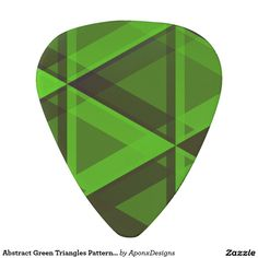 Abstract Green Triangles Pattern Guitar Pick