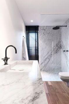 marble bathroom, black fixtures