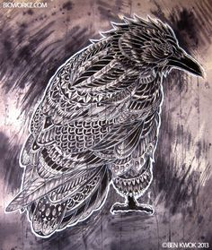 Raven by BioWorkZ.deviantart.com on @deviantART Oh I Love Raven & Owl Drawings <3 Hate the Owl Hype on all kind of stuff. But Love Love Love them as drawings.