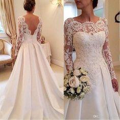 2017 Elegant Vestido De Renda Lace Long Sleeve Wedding Dress