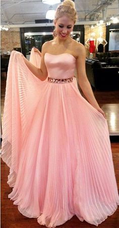 Princess Strapless, Pink Long Prom Dress,Floor Length Formal Gowns , New Fashion,Custom Made Prom Dresses Long Pink, Princess Prom Dresses, Chiffon Evening Dresses, A Line Prom Dresses, Pink Dress, Evening Gowns, Nice Dresses, Sweet Dress, Chic Dress