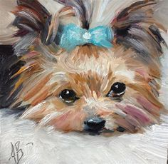 "Dog painting pet art Daily Paintworks - ""A lot of loving"" - Original Fine Art for Sale - © Annette Balesteri Yorky Terrier, Yorshire Terrier, Galerie D'art, Fine Art Auctions, Dog Portraits, Fine Art Gallery, Animal Paintings, Dog Art, Oeuvre D'art"