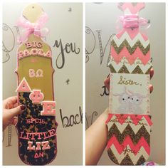 Big and little sorority paddle. Chevron pink and gold cheetah paddle!!!!!!!! Perfection.