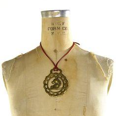 BIG Tribal Brass Horse Necklace / Vintage 1970s Pendant on Leather Strap $42.00