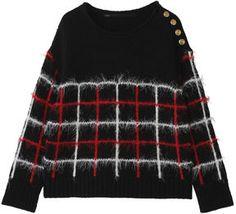Block plaid sweater / ShopStyle(ショップスタイル): Muller of Yoshio Kubo ミュラー オブ ヨシオクボ ブロックチェックマリーンニットプルオーバー