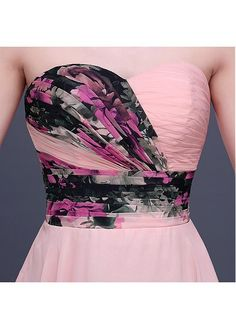 In Stock Elegant Chiffon Sweetheart Neckline A-line Floral Homecoming Dress