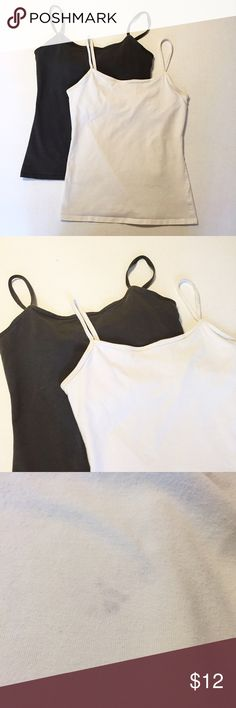"""Victoria's Secret Bra Top Camis 2 Victoria's Secret Bra Top Camis. 1 is charcoal gray, the other is white. The white one has a small faded mark on the back (pictured). 17"""" long from neckline to hem. 94% Cotton, 6% Elastane. Size Medium Victoria's Secret Tops Tank Tops"""