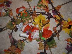 Vintage Avon Lighted Harvest Garland 2004 Scarecrow Fall Thanksgiving Decor 7' #Avon