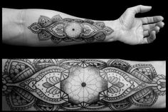 Chaim Machlev's black geometric tattoos. Love this. Would like something like it wrapping around my wrist.