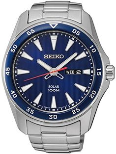 Seiko SNE391 Men's Core Silver Bracelet Band Blue Dial Watch *** You can find out more details at the link of the image.