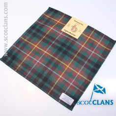 Pure wool pocket square in Buchanan hunting modern tartan - available from ScotClans