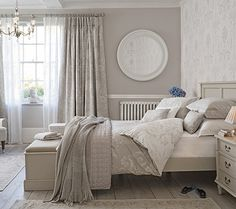 Josette dove grey bed linen, Laura Ashley - bedroom accessories - homes Home, Home Bedroom, Taupe Bedroom, Bedroom Interior, Dove Grey Bedroom, Bedroom Inspirations, Laura Ashley Bedroom, Feminine Bedroom, Interior Design
