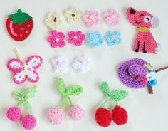 17 pcs mixed Crochet Flower Hat Dog Straberries Embellishment Applique for Crafting Scrapbooking on Etsy, $10.65 CAD