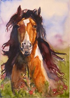 Mid Summer Dream Horse Watercolor Print by Maure Bausch