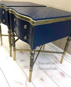 Navy Gold End Tables, Blue Nightstands, Vintage Hand Painted Hand Painted Dressers, Hand Painted Furniture, Refurbished Furniture, Painted Chest, Antique Buffet, Vintage Sideboard, Cute Furniture, Vintage Furniture, Furniture Ideas