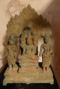 "A  rare museum piece bronze of Khmer Triad with Buddha protected by Muchalinda,  H 12"" x 7"""