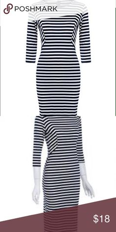 Navy and white striped midi sheath dress Navy and white midi stripe sheath dress has half sleeves material is 95% cotton 5% spandex size large new without tags Dresses Midi