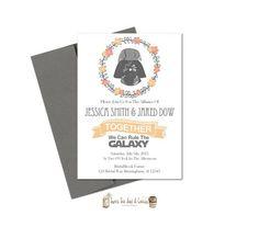Star Wars Wedding Invitation Printable Darth Vader Sci-fi Digital File Download Geek Nerd Announcement Card Cards Pink Gray Grey