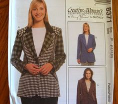 McCALLS SEWING PATTERN - 8371 - MISSES 12,14,16 - CREATIVE WOMAN TAILORED JACKET