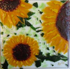 After firing in the kiln. Sunflower inspired glass fused small square dish.