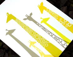 CLEARANCE giraffes 8X10 giclee yellow & gray by ThePaperNut, $16.00