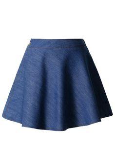 Denim Skater Skirt in Blue
