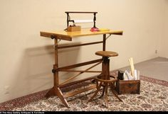 Drafting Table or Adjustable 1930's Artist or Architect Desk
