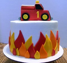Fire Truck First Birthday Cake - 1st Birthday - Dad's a fireman so baby boy got a fire truck cake.                                                                                                                                                                                 More