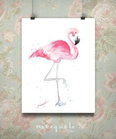 Original Flamingo hand-made watercolor. home-living, gift baby, art nursery, art wall. Flamenco en acuarela, decoración infantil, pared bebé.Flamenco en acuarela hecho a mano.Técnica acuarela. Original Hecho a mano. Disponibles las acuarelas originales en diferentes tamaños e impresiones de