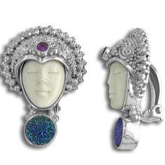 Offerings Sajen 925 Sterling Silver Blue Druzy and Amethy Goddess Clip Earrings