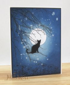 IC515 Cat and the Full Moon by artystamper - Cards and Paper Crafts at Splitcoaststampers