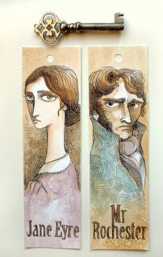 2 in 1 Jane Eyre - Charlotte Bronte -1  Bookmark DELUXE with two portraits front and back - hand painted with watercolours by Elisabetta Stoinich