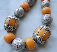ethnic necklace amber silver by PachamamaLove on Etsy, $210.00