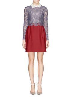 VALENTINO - Lace bodice bow collar crepe couture dress | Multi-colour Cocktail Dresses | Womenswear | Lane Crawford