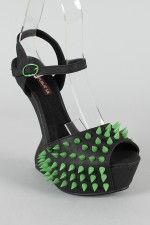 Shoe Republic Villain Heel Less Studded Spike Platform Curved Wedge