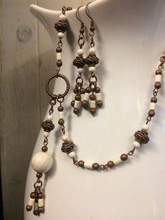 White Stone Necklace and Earring Set