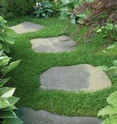 stepping stones like the ones you are using on gravel, could continue seamlessly onto the grass..?