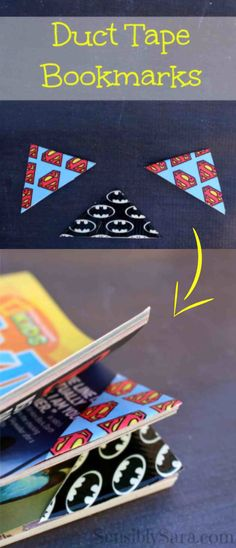 'Duct Tape Bookmarks: Easy-to-Make Craft...!' (via sensiblysara.com)                                                                                                                                                     More