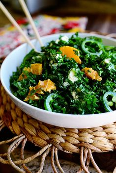 Kale Citrus Salad - This is the BOMB. Don't skimp on the jalapeños. Dress this 15 minutes before you serve it.