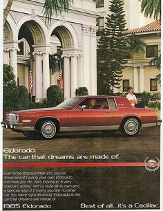 1985 Cadillac Eldorado Hardtop Coupe all versions specifications and performance data Cadillac Eldorado, Cadillac Ats, Cadillac Fleetwood, Retro Cars, Vintage Cars, Car Brochure, American Classic Cars, Car Advertising, Sweet Cars
