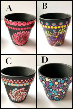 Original, hand painted mandala style gifts & decor by PegDots Funky bold unique painted indoor flower pots - perfect gift for mom! Mix and match styles. Flower Pot Art, Flower Pot Design, Painted Plant Pots, Painted Flower Pots, Dot Art Painting, Mandala Painting, Indoor Flower Pots, Creation Art, Decorated Flower Pots