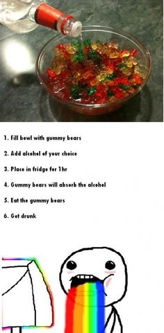 I am pinning this so I can remember to do it in the immediate future. This is my reminder to myself- gummy bears+alcohol=best.thing.ever!!