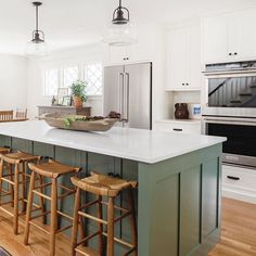 Trim Design Co. | We're sharing our most popular Instagram Photos and sources so you can get the look. In this kitchen makeover, we're giving you ideas for similar counter stools, lighting sources and more. Check it out!  #trimdesignco #kitchendesignideas Boutique Interior Design, Interior Design Studio, Modern Farmhouse Decor, Modern Decor, Green Kitchen Island, Most Popular Image, Organic Modern, Decorating Blogs, Beautiful Space