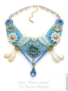 Купить Колье Танец стрекоз - голубой, небесно-голубой, небо, озеро, стрекоза…
