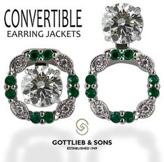 ‪#‎Emerald‬ and ‪#‎Diamond‬ Convertible Earring Jackets allow you to wear your diamond studs three unique ways. Visit your local ‪#‎GottliebandSons‬ retailer and ask for style number 28921B. http://www.gottlieb-sons.com/product/detail/28921B