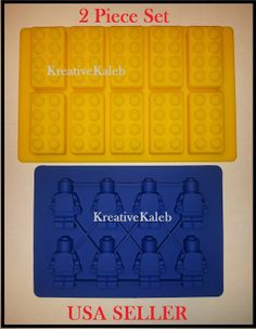 Lego Blocks Minifigure Silicone Molds Ice Tray Chocolate Jello Candy Crayon Tray Yellow