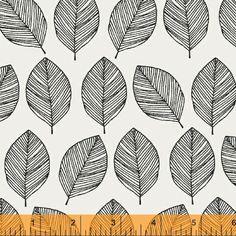 Whisper, Black Leaves – Bloomerie Fabrics
