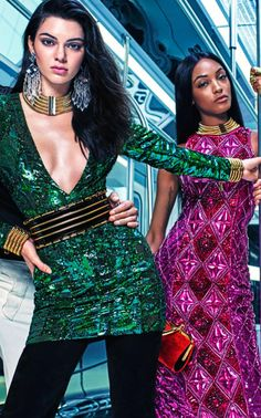 Kendall Jenner and Jourdan Dunn in the Balmain x H&M campaign, collection released November 2015.